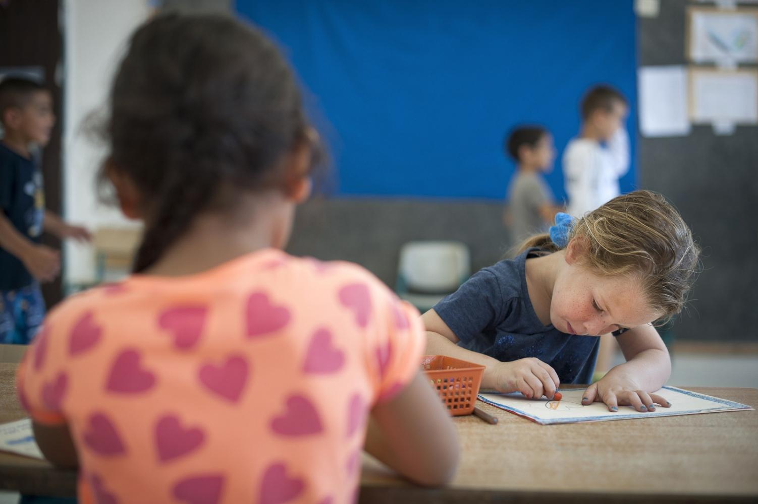 Students in the Kindergarden of Wadi Ara Hand in Hand School in Kafr Qara, Israel.