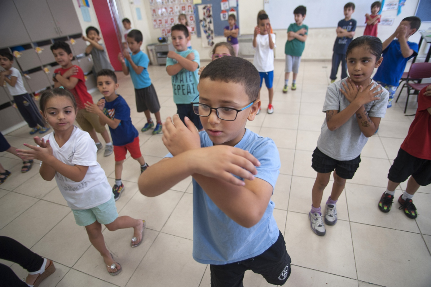 Kindergarden pupils at Max Rayne Hand in Hand Jerusalem School practice their 'Identity Day' performances.