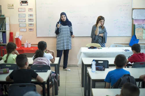 Alia Hussien and fellow teacher Efrat Toval give a lesson on identity to this class of 3rd Graders.. Max Rayne Hand in Hand Jerusalem School.