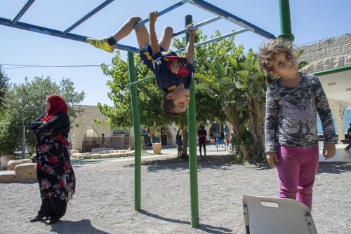 Climbing frames and break time at the Wadi Ara School in Israel.