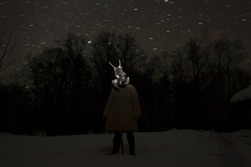 Roe-deer man under the Orion (the Hunter) constellation