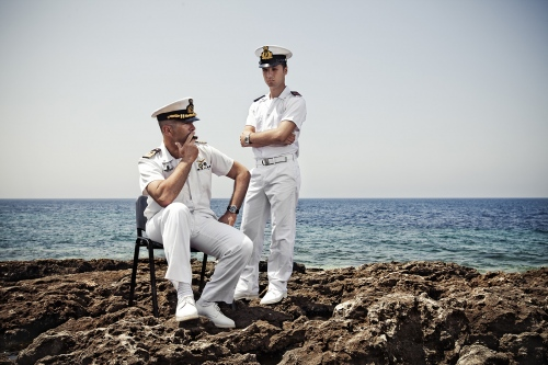 Coast guards who rescued immigrants after the massive inmigration in Lampedusa, 2011