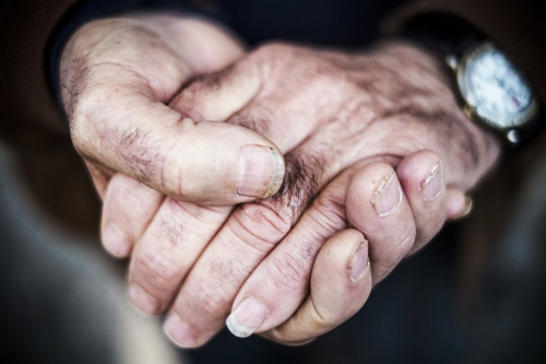 Miner's hands, Sicily, 2012