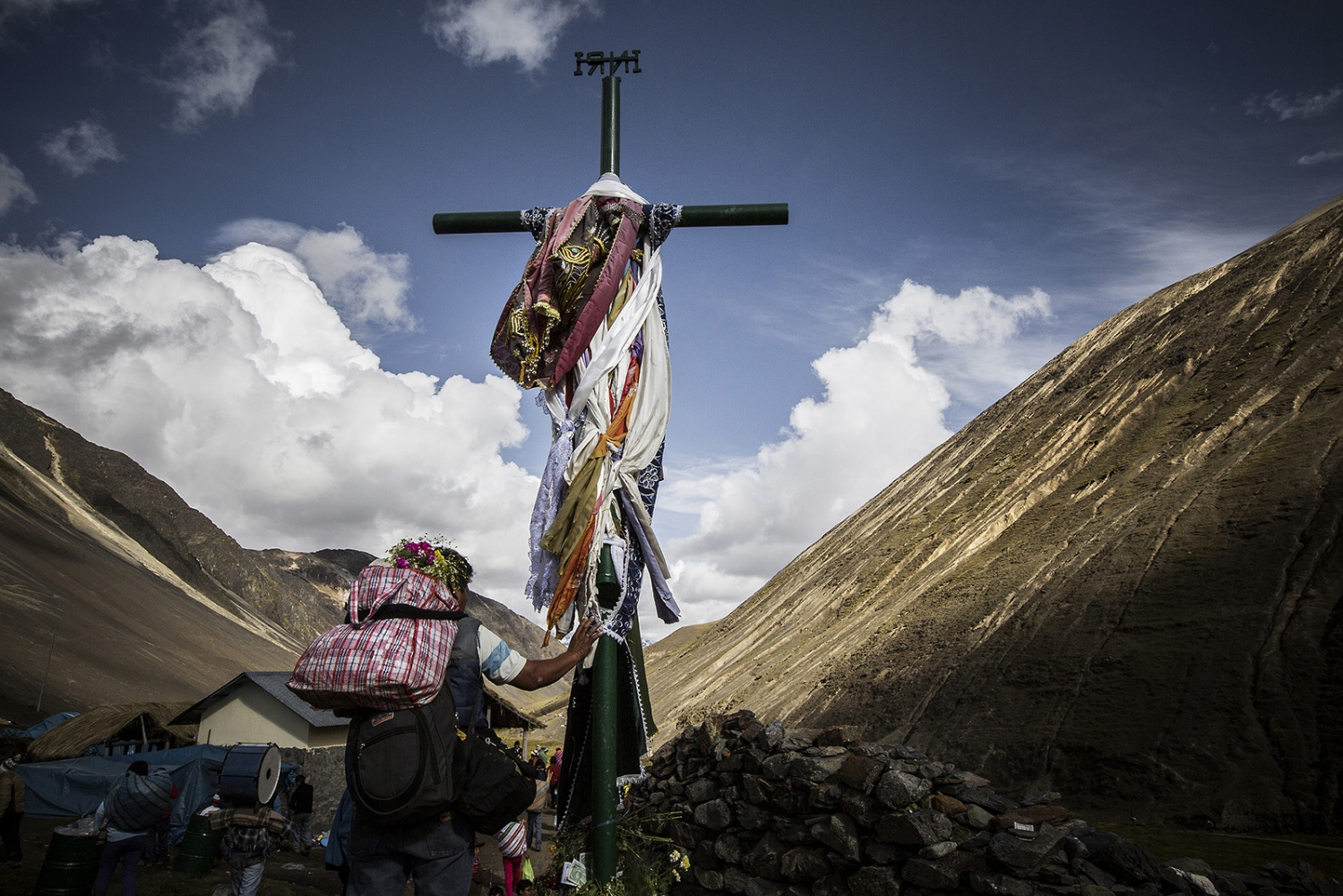 The pilgrimage follows the crosses on an 8km procession from the Mahuayani village to the Sinakara glacier, 5000m hig.