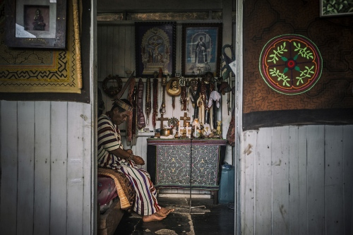 Juan Flores Shaman in his room