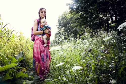 A mother at the Rainbow summergathering in Slovakia in 2012