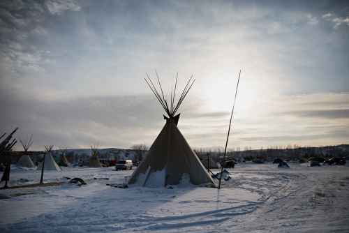 A teepee under the timid morning sun in December 2016.