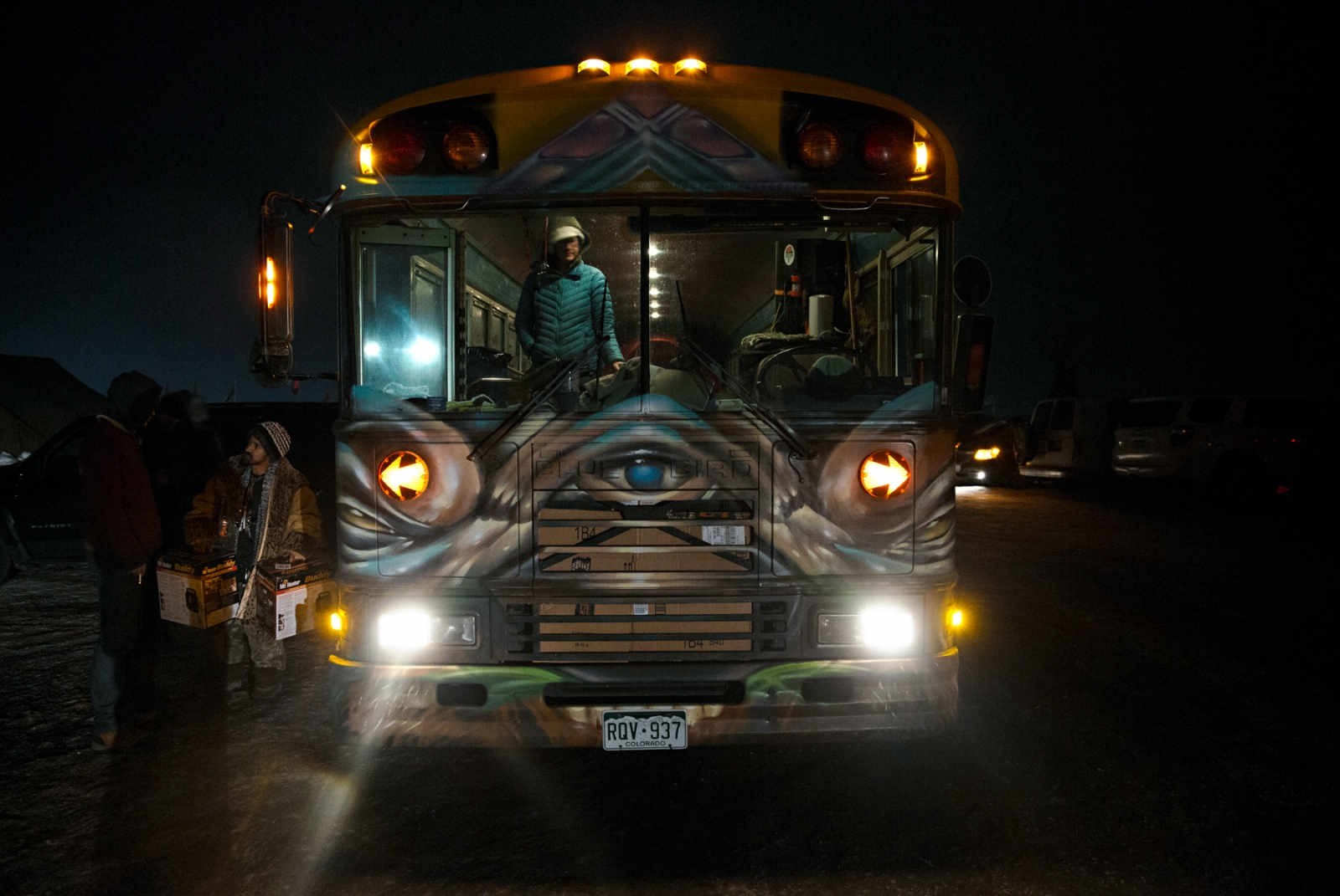 A heavily decorated bus is used to transport new arrivals to the Camp in December 2016; shortly before the Army Core of Engeneers announced it had denied DAPL authorization to drill under the Missouri River.