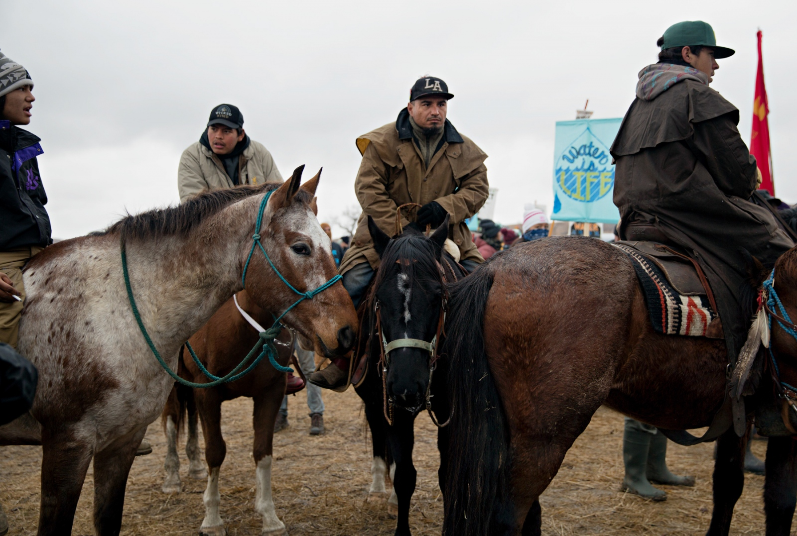 A group of riders gather around near a police stand-off on the Thanksgiving Day 2016.