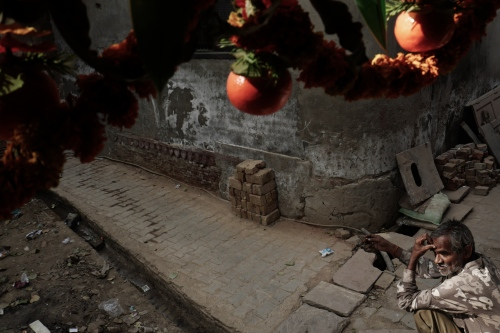 Agra, India. November 08, 2016. Indrageet under the diwali decorations, very important Hindu festivity. Geeta bought decorations for the festival, her husband is unable to contribute much and spends most of his salary in gambling and drinking.