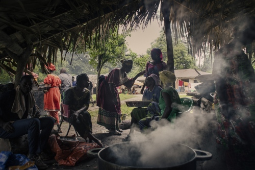 The kitchen of a family in the village of Mlomb, Casamance.