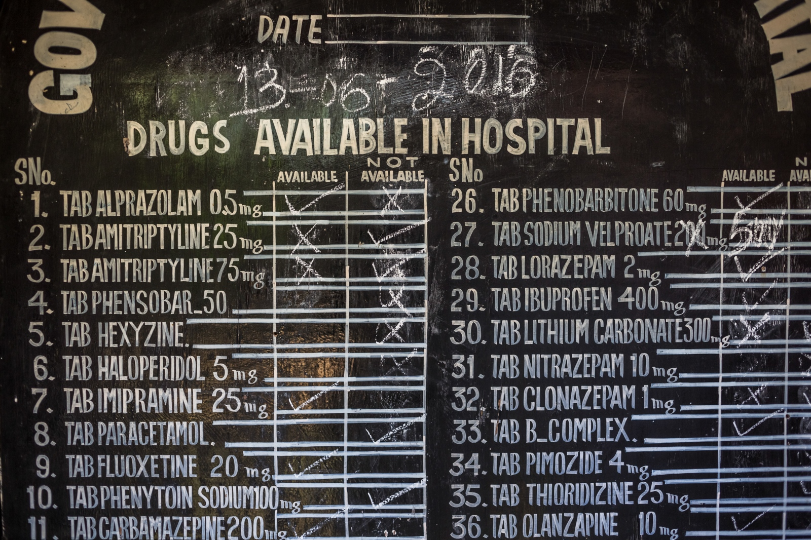 A board displays medication available at the Psychiatric Diseases Hospital in Kashmir's summer capital Srinagar on June 13, 2016.