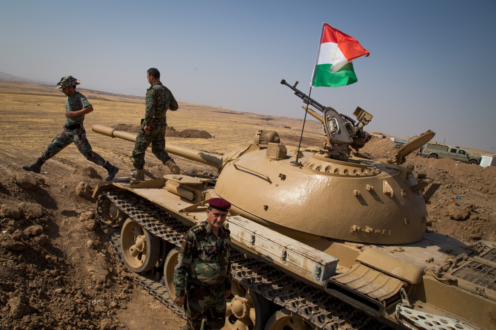 Peshmerga soldiers defend the Khazer frontline outside Mosul, Iraq.