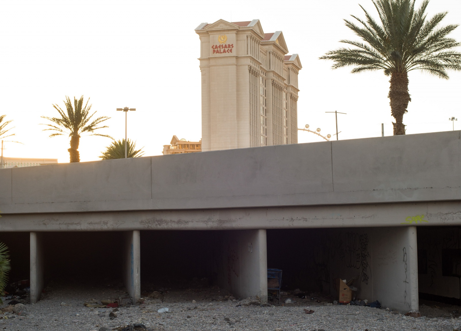 Below Caesars Palace an entrance to the over 200 miles of flood tunnels under Las Vegas, where hundreds of homeless people live off the grid