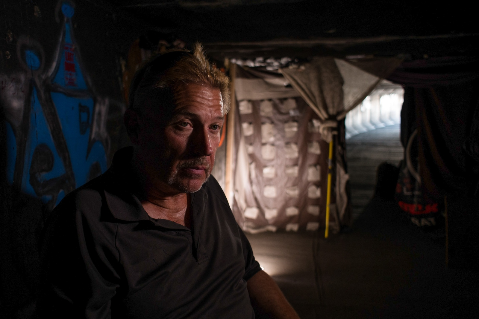 Skip has lived in the tunnels on and off for 4 years. For the past few weeks Skip has been above ground, driving an advertising billboard truck along the strip but complains he hasn't been paid in weeks.