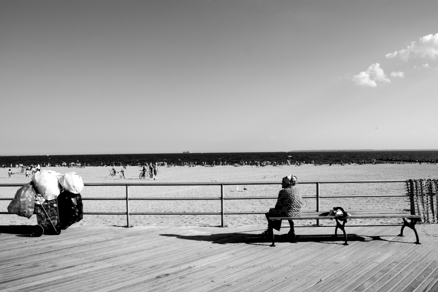 Bag Lady on Boardwalk. Coney Island, NY, Summer 2011