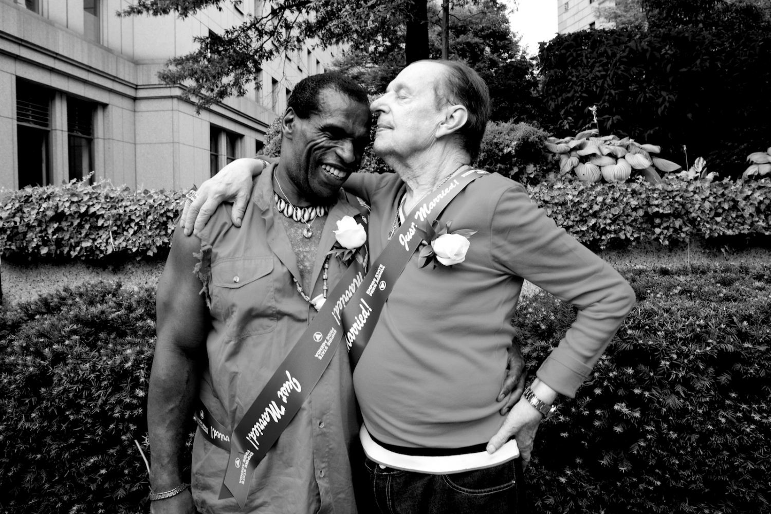 Michael J., 55 and Michael R., 81, embrace after getting married at the City Clerk's office, on the first day New York State's Marriage Equality Act goes into effect. They have been together 30 years. New York, NY, July 24, 2011