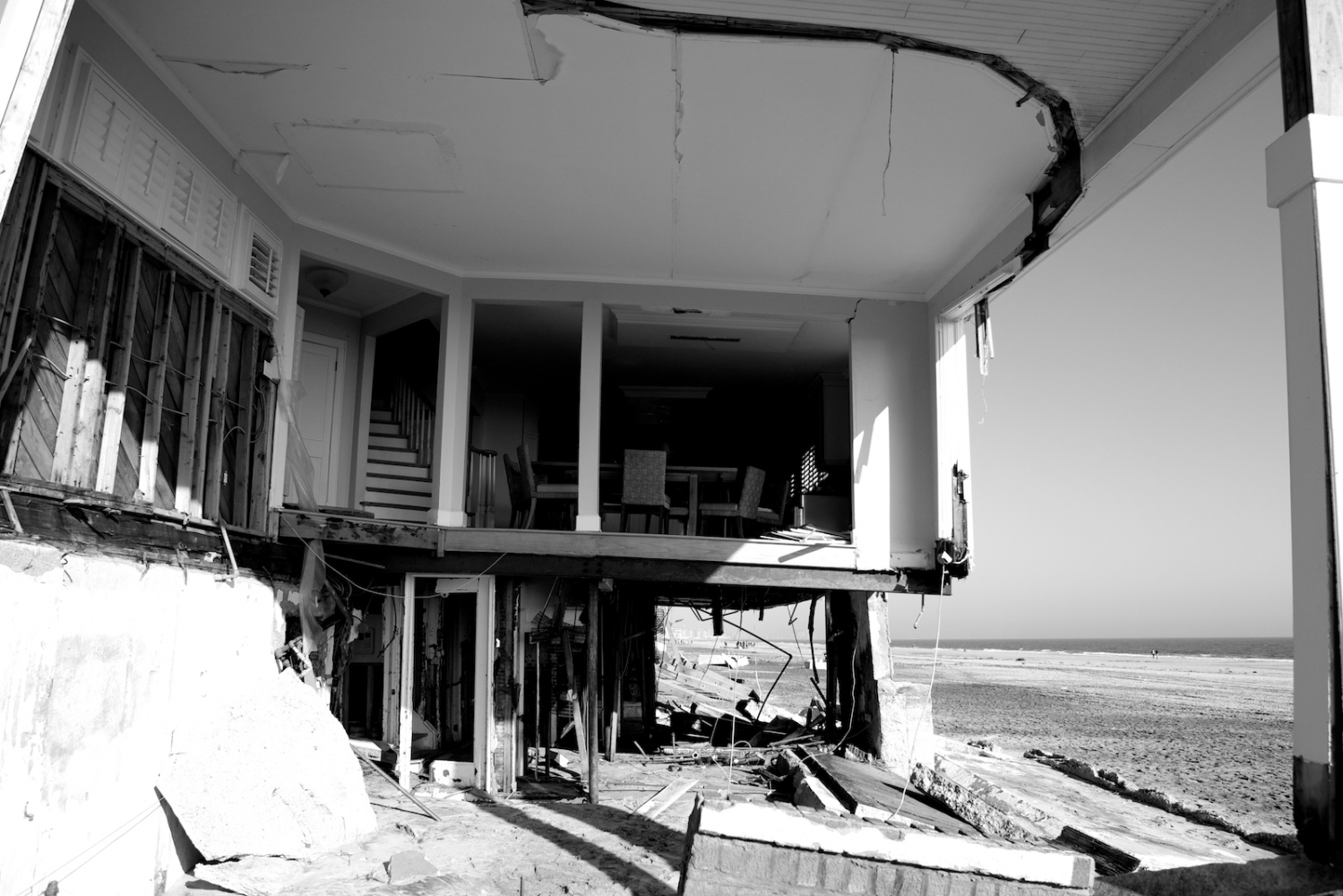 A house destroyed by Hurricane Sandy stands in Breezy Point, Queens, N.Y. on Nov. 11, 2012.
