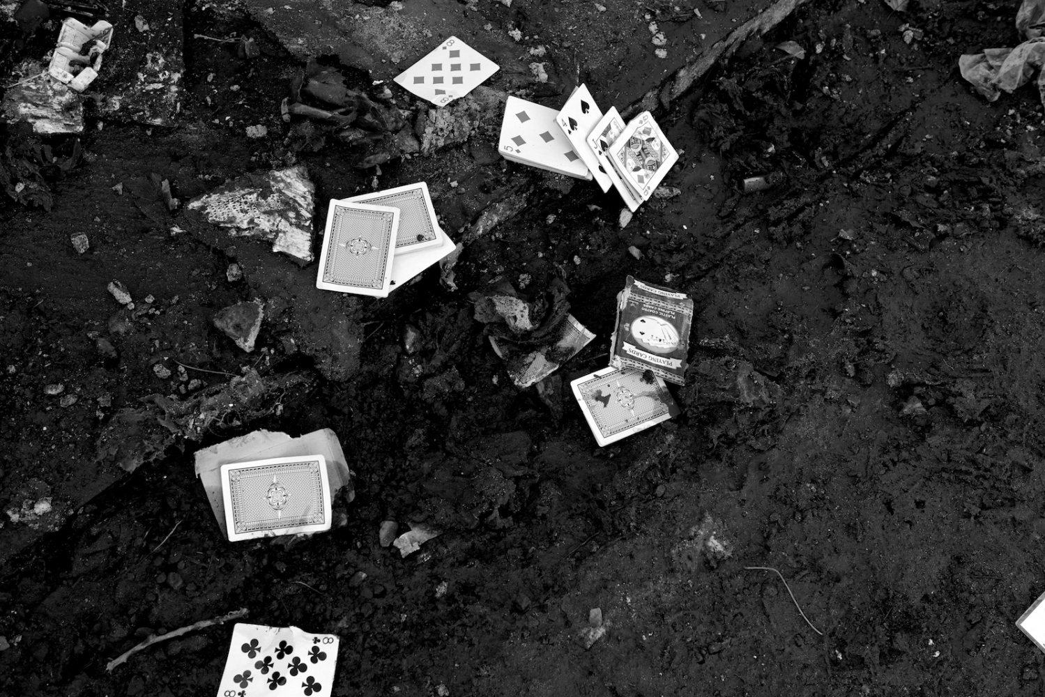Playing cards lay in the mud in New Dorp Beach, Staten Island, N.Y. on Nov. 9, 2012. New Dorp Beach was devastated by Hurricane Sandy and now faces the long road to recovery.