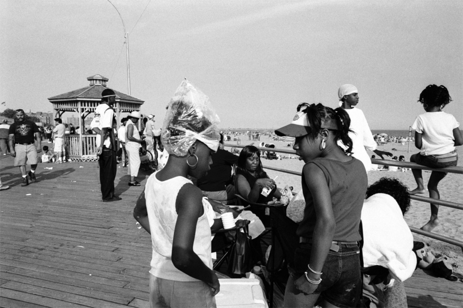 Plastic on Girl's Head, Coney Island, NY, July 4, 2004