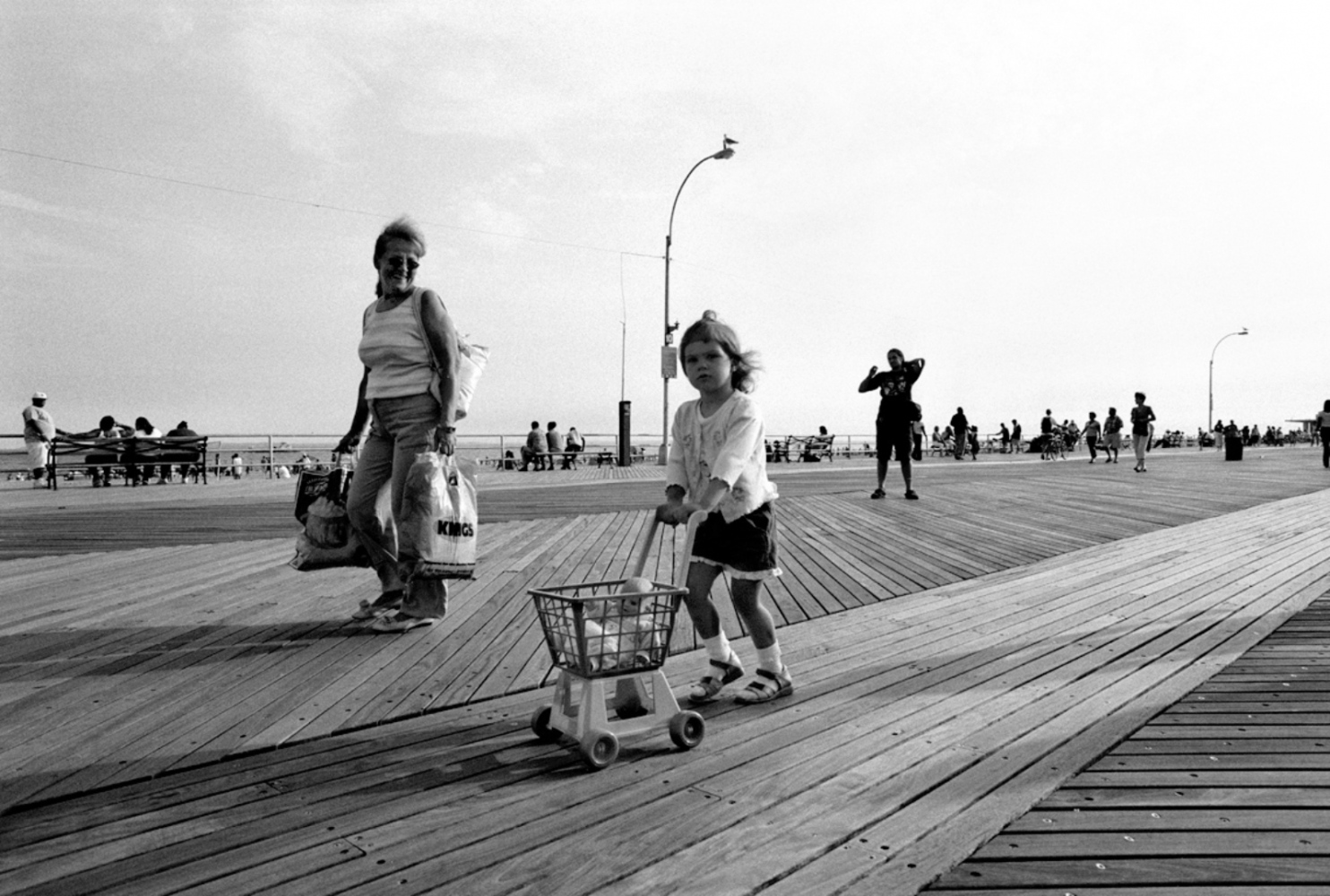 Pushing Pram, Coney Island, NY, July 4, 2004