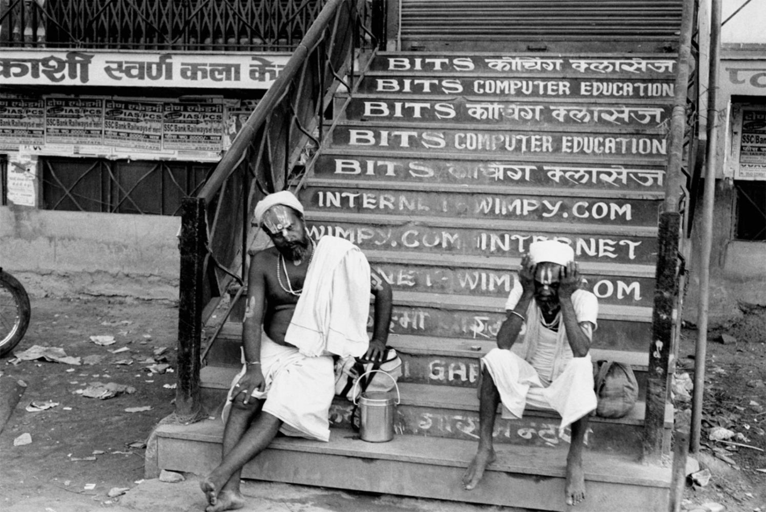 Brahmans Sitting on Steps, Varanasi, India, November 2003