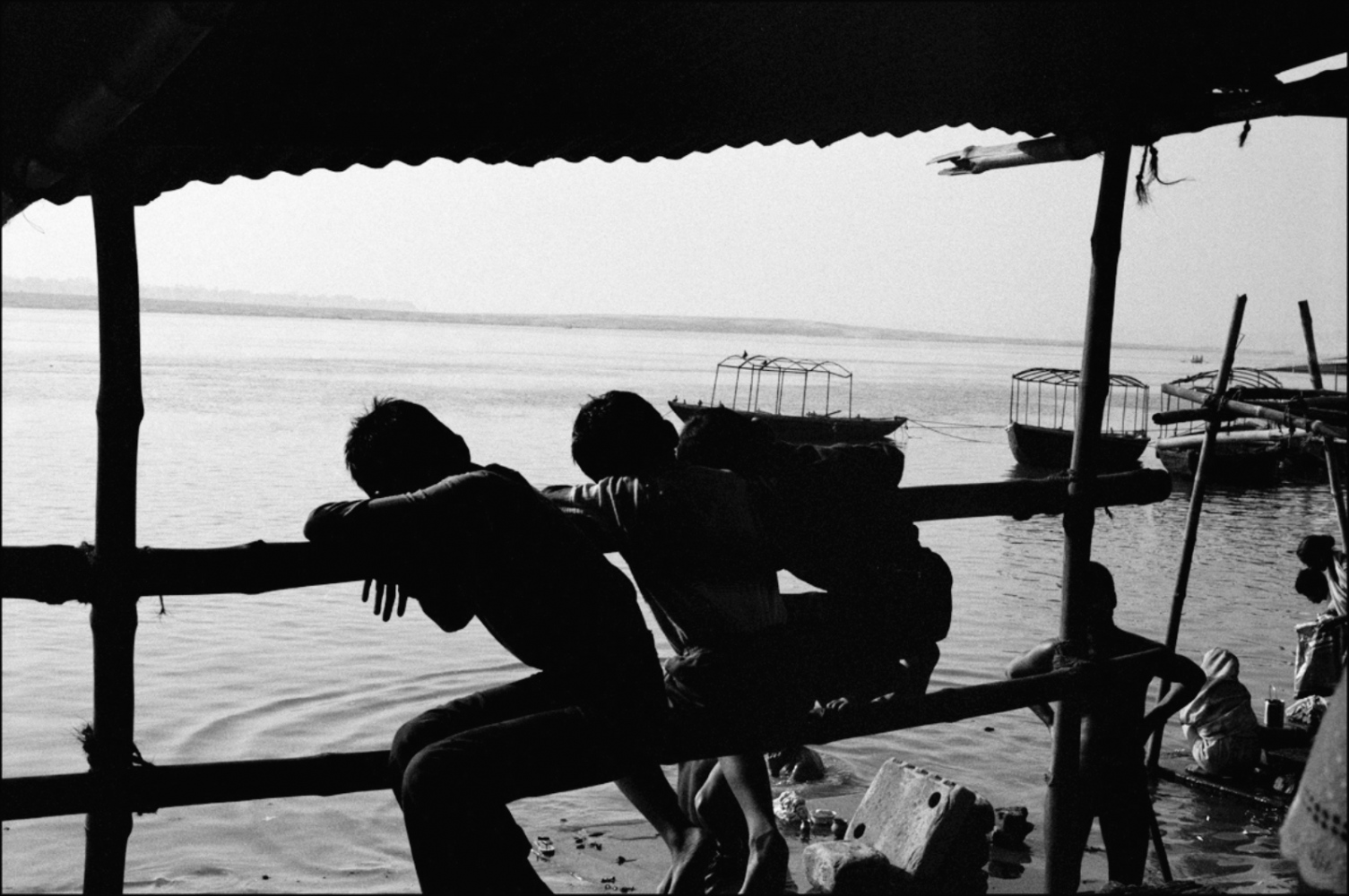 Boys Looking at Ganges, Varanasi, India, November 2003