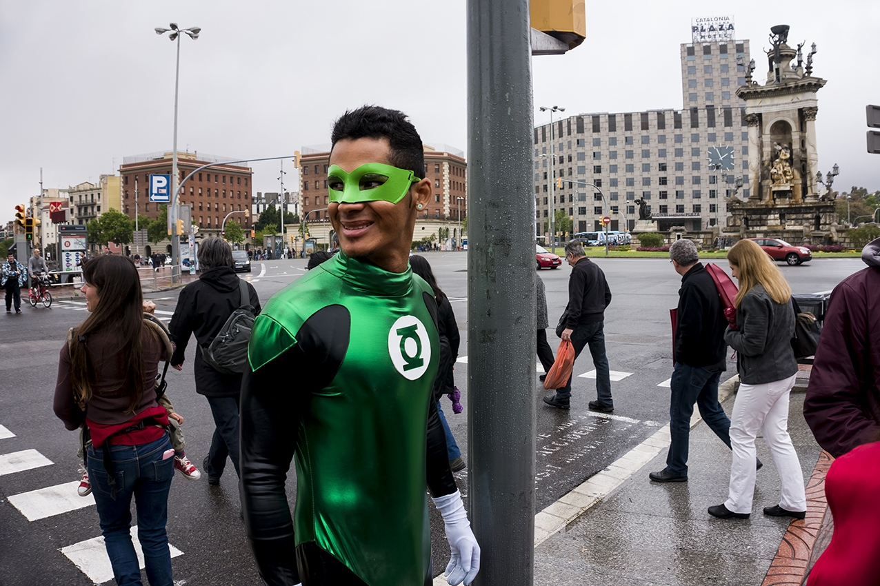 Green Lantern walking on the streets. Barcelona. 2016