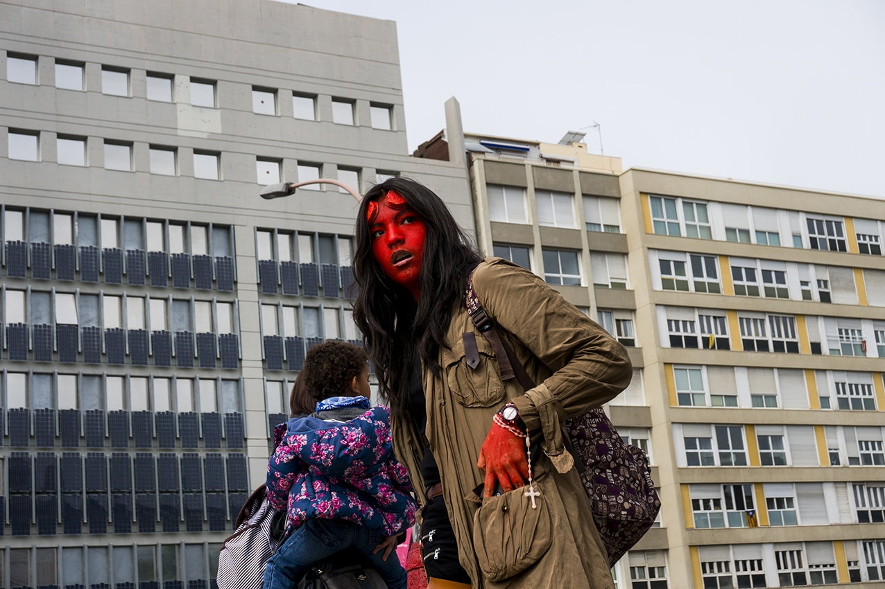 The female version of Hellboy is waiting for the unexpected. Barcelona. 2016