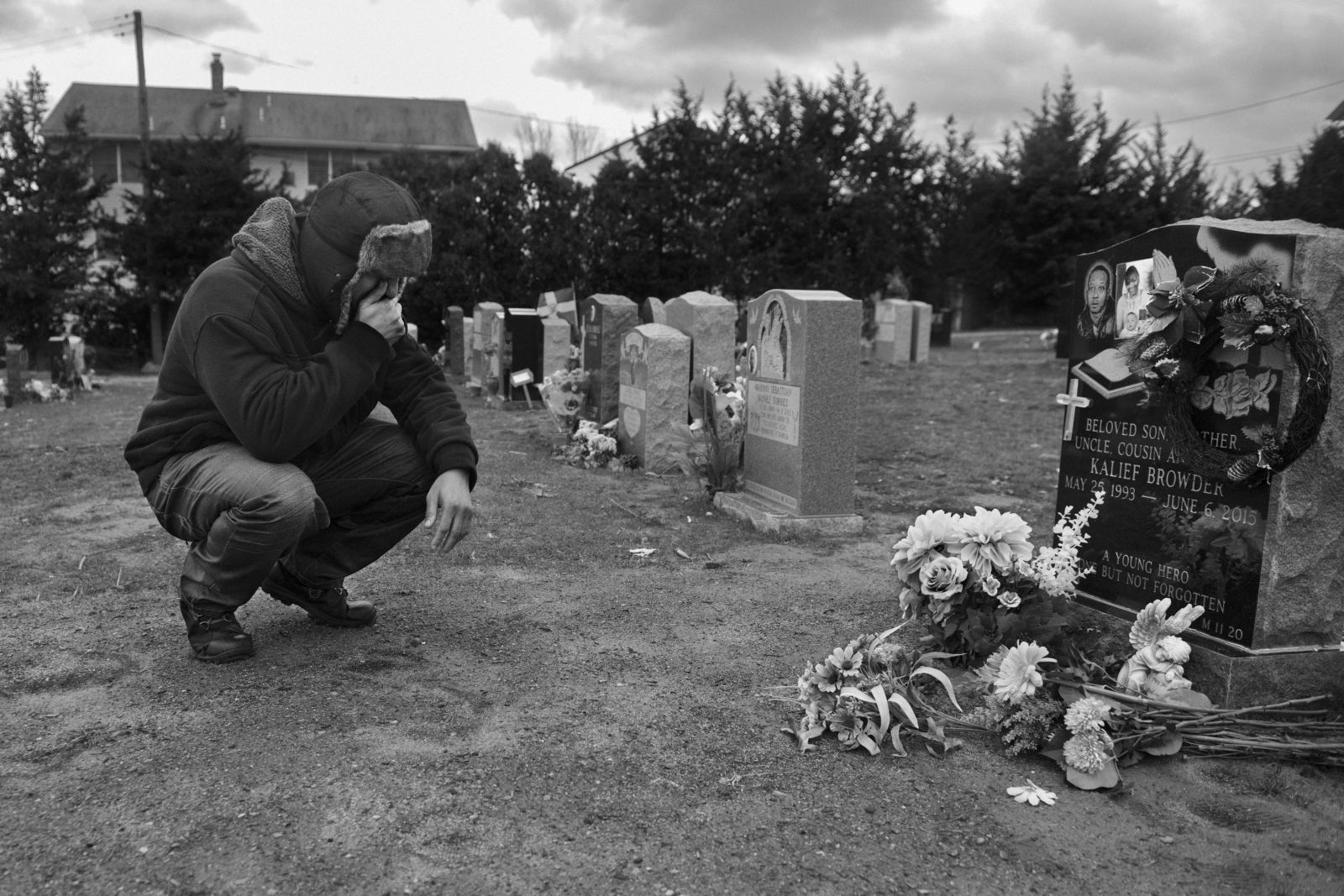 Akeem Browder visits the grave of his brother Kalief and of his mother, VenidaBrowder, who died on October 14th 2016 from a heart attack. Venida was emotionally devasted after Kalief took his own life. She championed the cause of reforming the criminal justice system and made her case known nationwide after asking answers in several tv shows and criminal justice forums.
