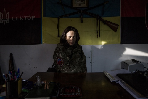 Marussia is the leader in commander of the civic battalion in Kievska Oblast.  She worked in advertising before Maidan battle and she definitely hadn't a proper preparation in the military service.  Now she organizes the camp close to Kiev in order to teach people how to use a Kalashnikov, to assemble and disassemble guns, fight with a knife and those kind of basic military activities. A lot of women join the camp, from 18 up to more than 50 years old.