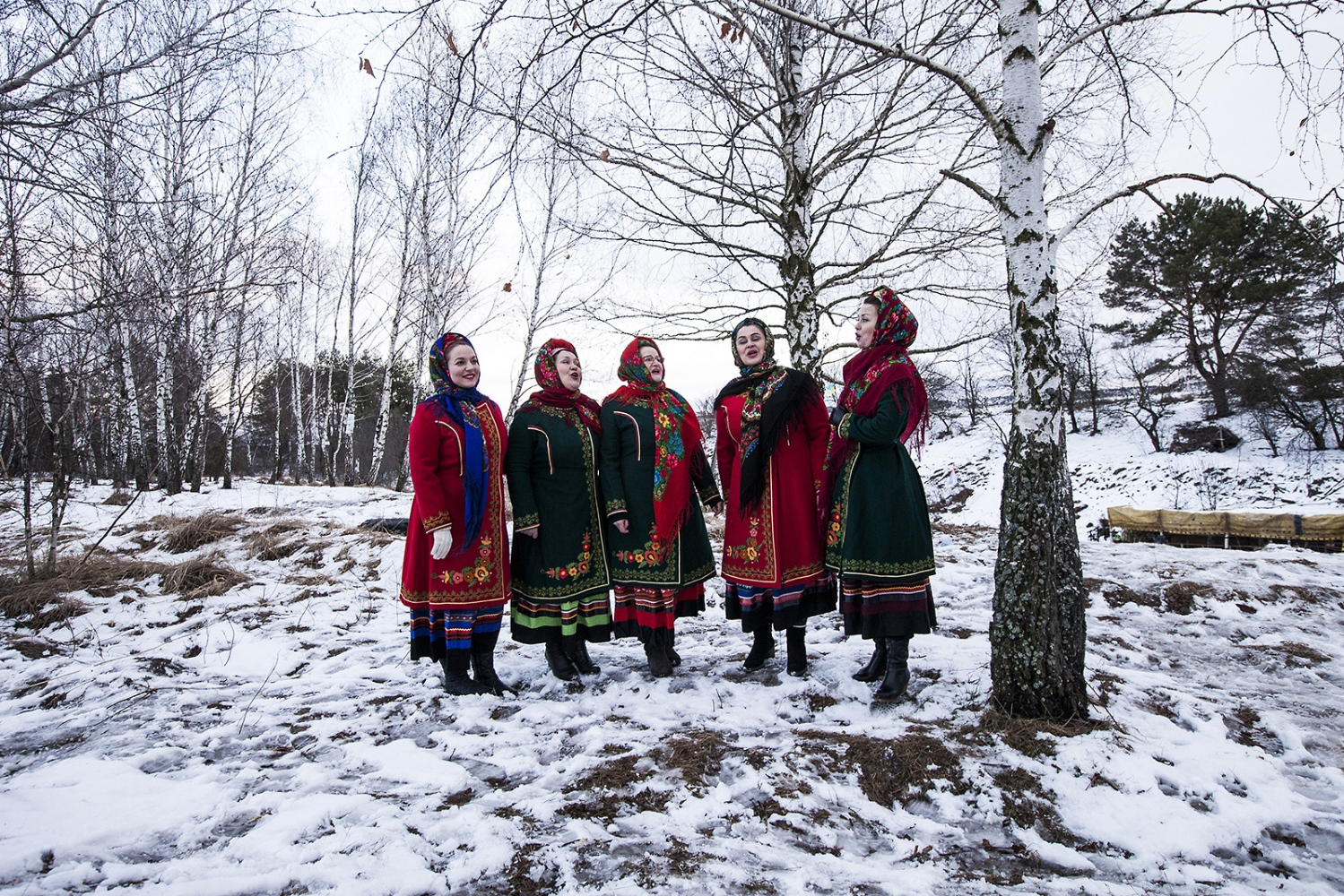 Kolyadki singers come to sing at the military camp to wish good luck to guys who're living there and that will leave soon to fight in the East.