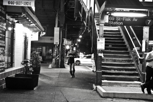 A trans Latina sex-worker in Jackson Heights, Queens walking at night. According to a report by the organization Make The Road New York, Latin transgender women in Jackson Heights reported being physically abused by police at a higher rate, 46% of transgender respondents reporting some form of physical abuse by police compared to 28% of non-LGBTQ respondents.