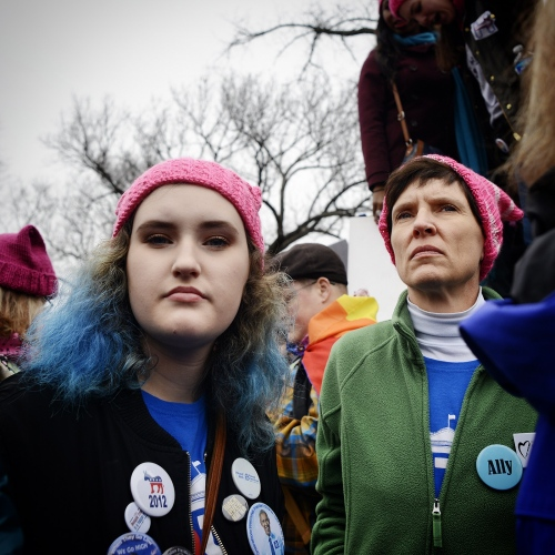 Participants in the Women's March on Washington January 21st, 2017.