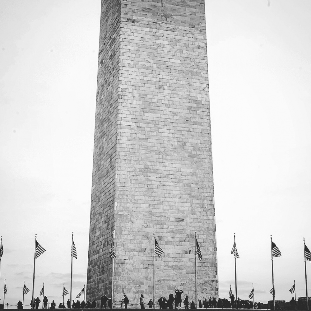 People at the Washington Monument on January 19th, 2017.