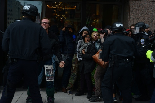 Earlier today from 14th street after a clash between cops and anti-fascist protestors ending in over 200 arrests.