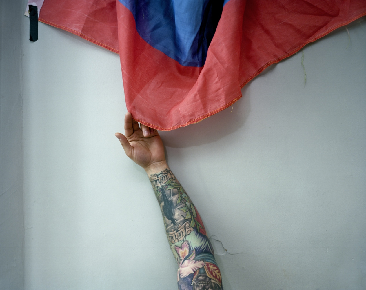 Luis' Arm with Flag/Puro Colombia, Paterson, NJ , 2014