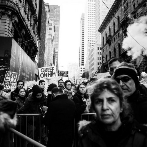 New Yorkers   protest  President-Elect  Trump  the day after the election. New York City, November 9th, 2016
