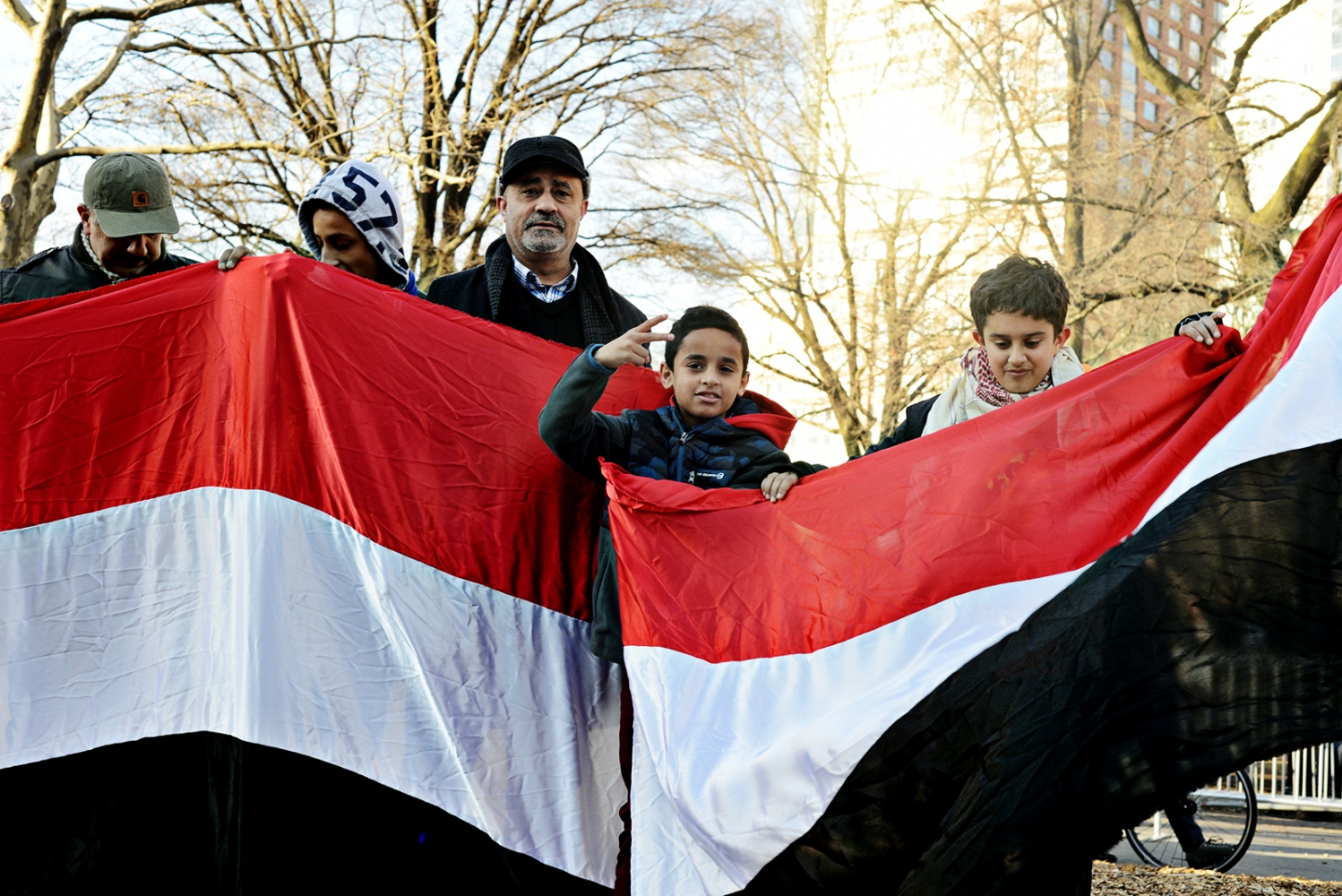 Several Yemeni Americans traveled two hours from New Jersey to attend a rally after the Trump administration announced a temporary ban the entry of foreign nationals from some Muslim-majority countries through executive order, including refugees and visa holders. One of the countries in question is Sudan but this includes Iraq, Syria, Iran, Libya, Somalia and Yemen. January 29th, 2017