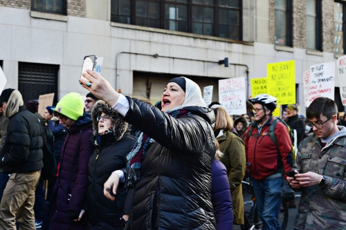 On January 29th, 2017, protestors in New York CIty take to the streets  after the Trump administration announced a temporary ban the entry of foreign nationals from some Muslim-majority countries through executive order, including refugees and visa holders. One of the countries in question is Sudan but this includes Iraq, Syria, Iran, Libya, Somalia and Yemen.