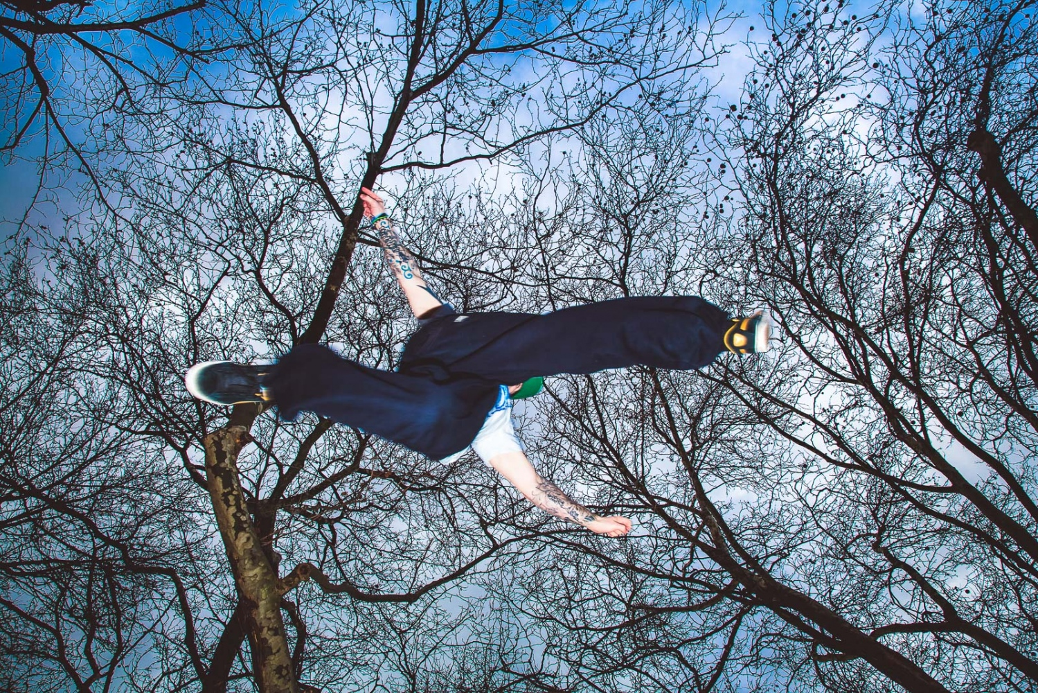 London, UK, February 15, 2013: Pete McKey, an athlete from the freerunning collective 'Parkour Generations', performs a jump.
