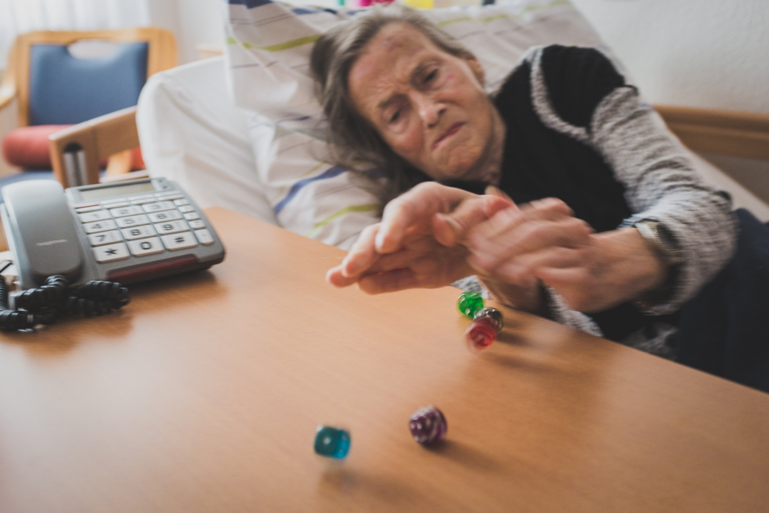 "'Throw of the dice'. Helga always loved games. Once I tested her during a match of Yatzy, claiming that ""4x5=30"". ""No!"", she corrected me immediately, ""4x5=20!"" Studies show that cognitive activities can delay the onset of memory decline in persons who suffer from dementia. Bedburg, GERMANY, September 16, 2015."