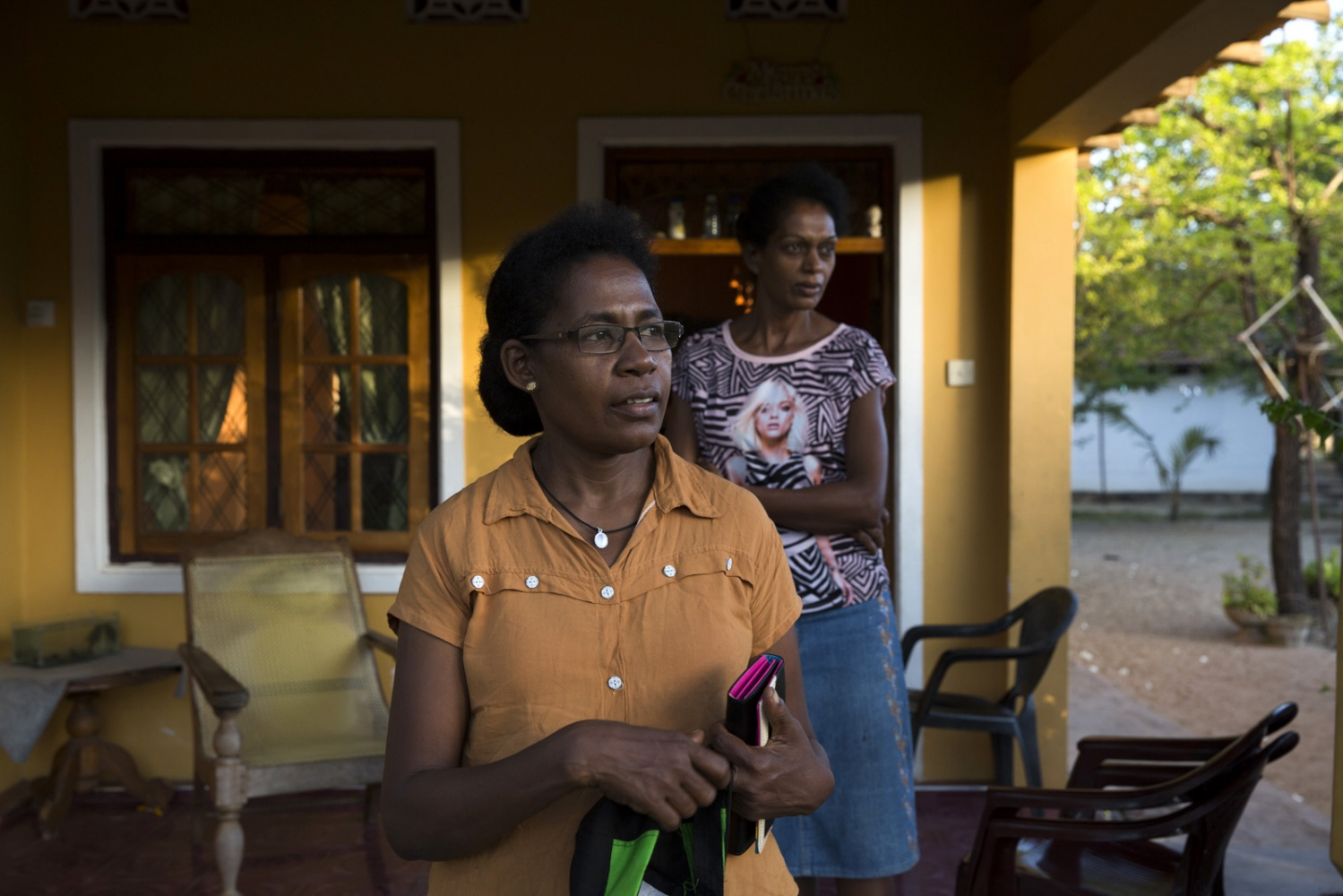 Sherine Alexander, President of the Ceylon African Society, stands in a relatives house in Puttalam town.