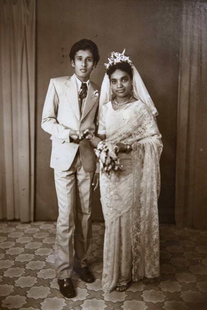 Rani Pushparani, 58, (right) on her wedding day in Puttalam town some 40 years ago.