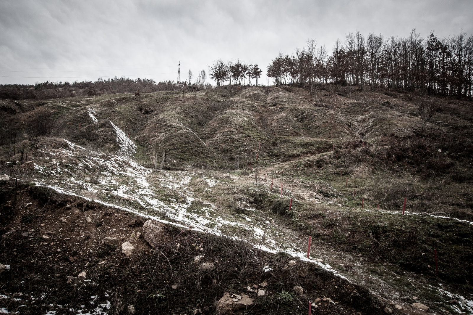 A minefield marked with red stakes in northwestern Kosovo. December 2016.