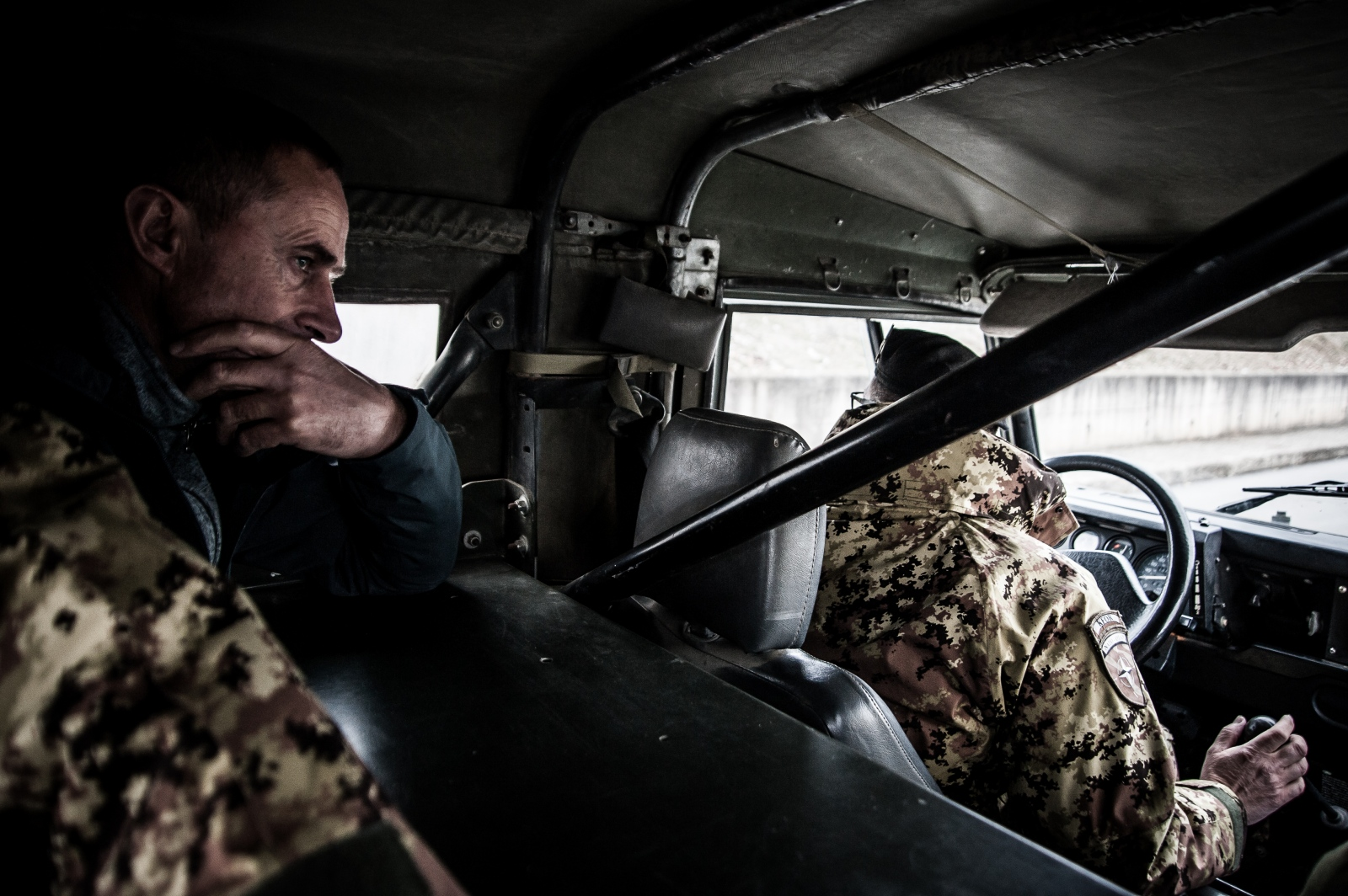 "A group of KFOR soldiers drive from Camp ""Villagio Italia"" to the Serbian Orthodox monastery of Visoki Dečani."