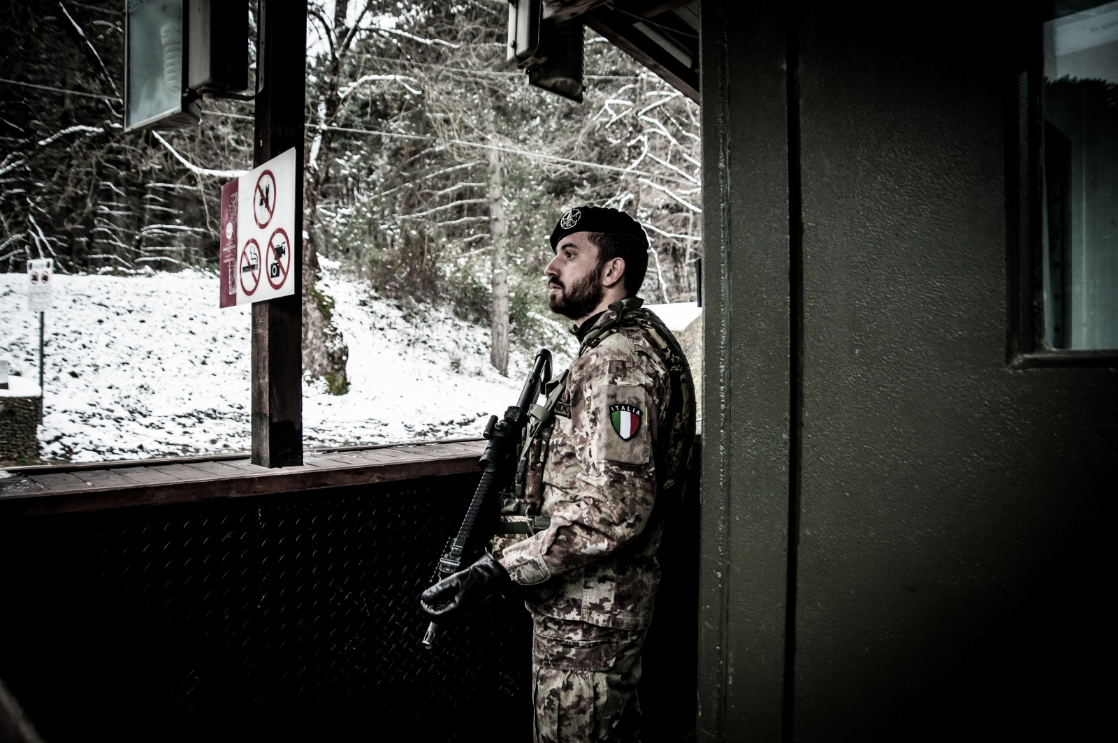 A KFOR soldier during the monitoring service at one of the checkpoints surrounding the monastery of Visoki Dečani.