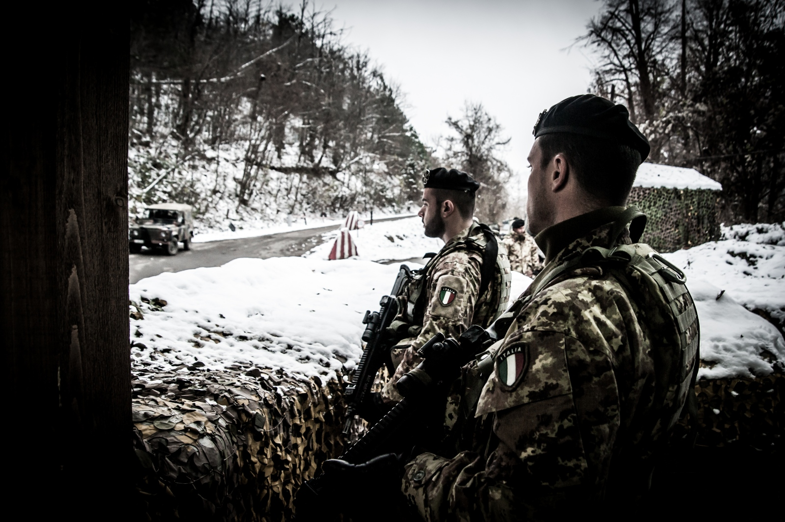 Two KFOR soldiers during the monitoring service at one of the checkpoints surrounding the monastery of Visoki Dečani.