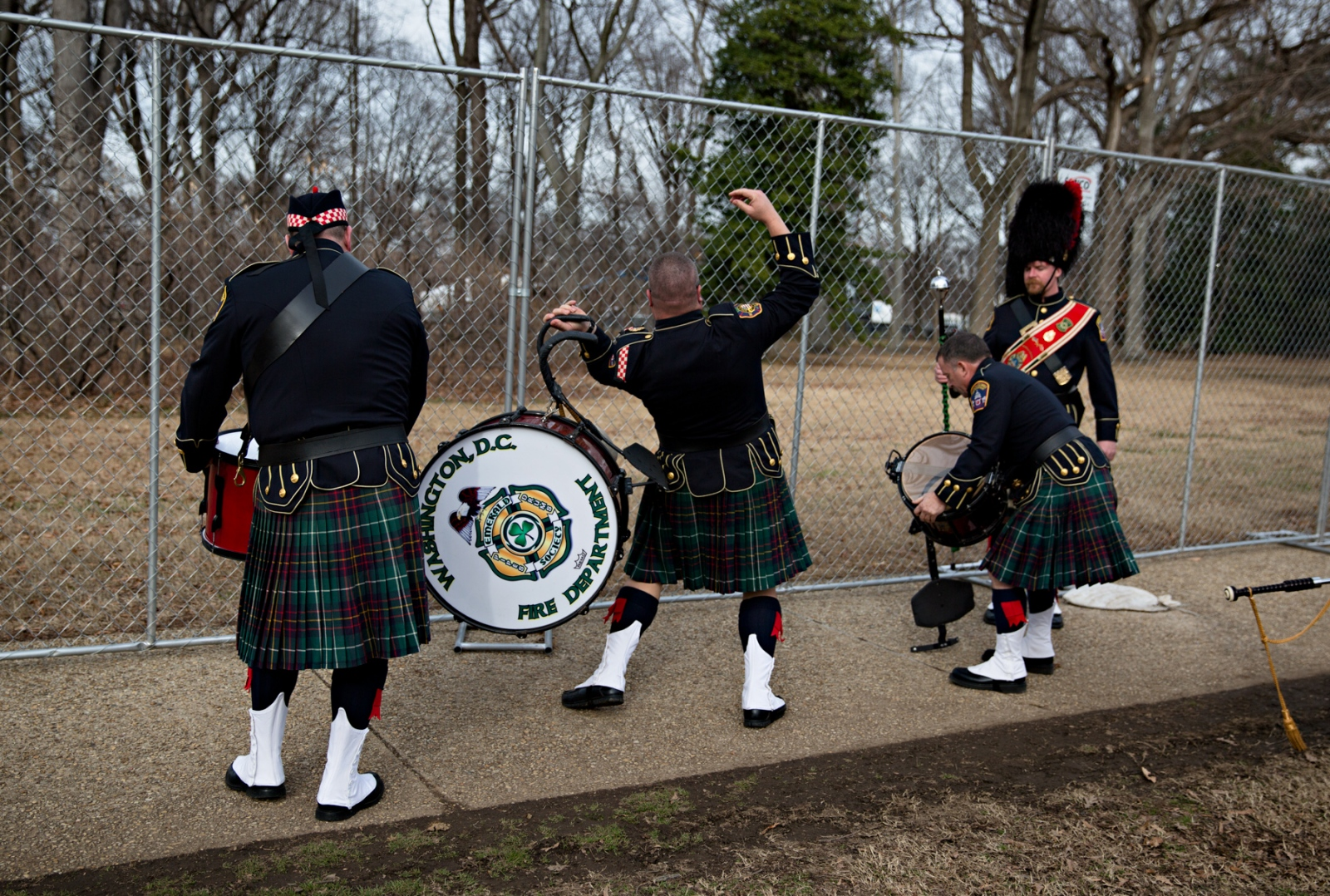 January 19, 2017 - Washington, DC, United States: The Washington DC Fire Department marching band arrives at the Lincoln Memorial to play in honor of the new President to be, President Donald J. Trump.