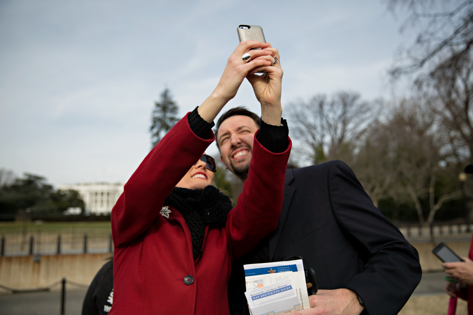 January 19, 2017 - Washington, DC, United States: A person takes a selfie of herself and her companion in front of the Whitehouse.